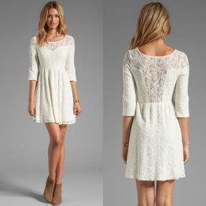 Free People Lace Sweetheart Dress Fit Flare XS